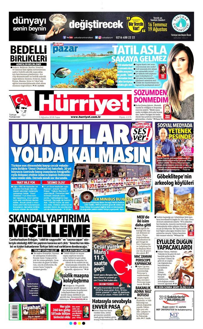 Özgürlük Gazetesi - Bağımsızlık Manşet Oku - Haberler 05 Ağustos 2018