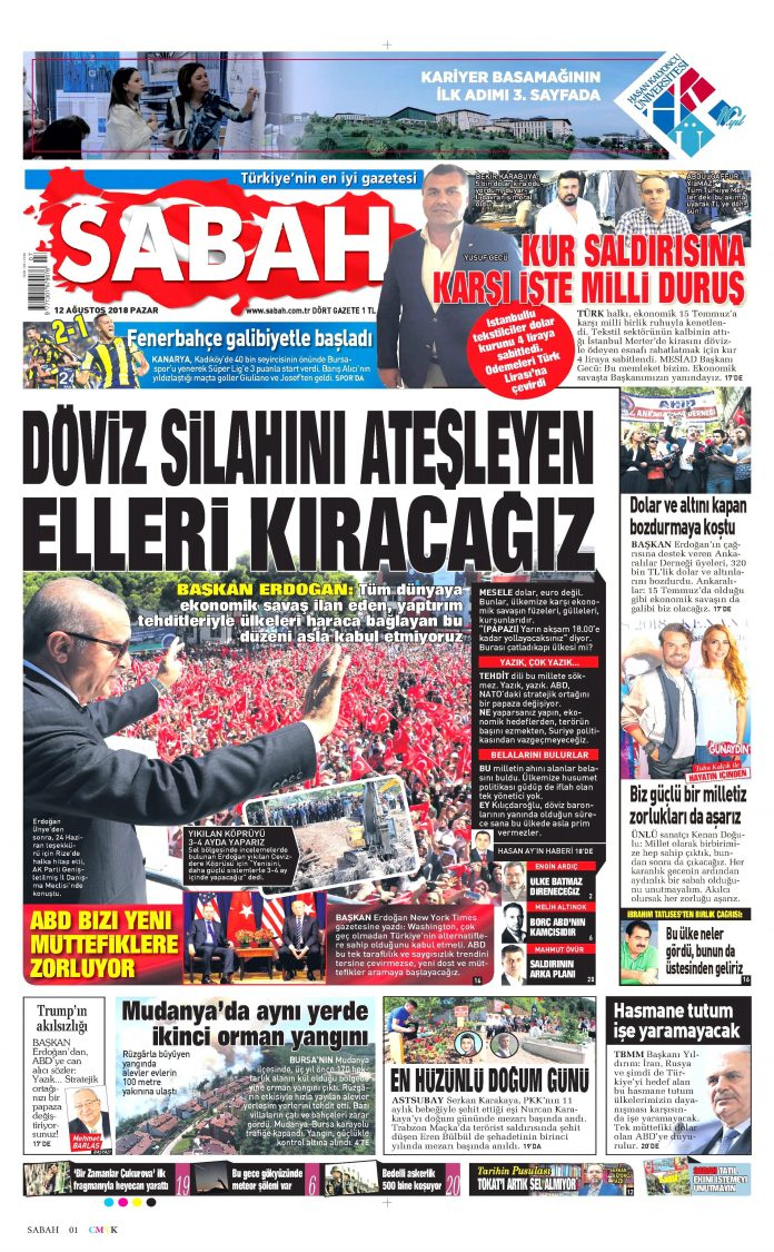 Sabah Gazetesi - Sabah Manşet Oku - Haberler 12 Ağustos 2018